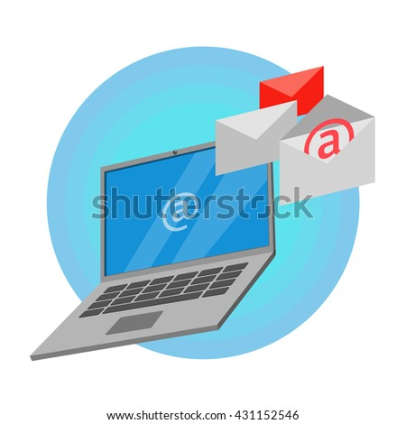 Laptop with incoming mail, envelope / Inbox. Vector illustration - stock vector