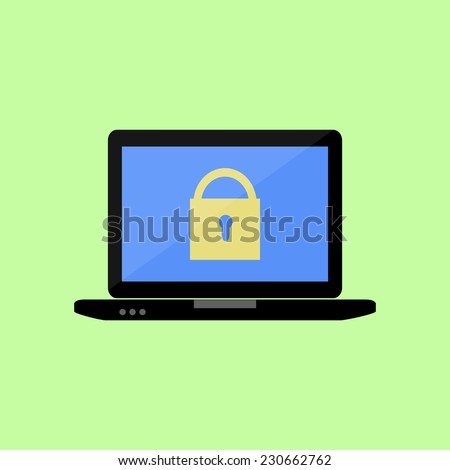 Laptop with lock  icon in flat style - stock vector
