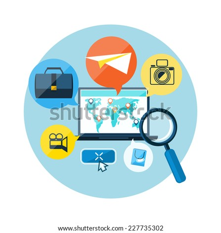 Laptop with map pointers on world map. Digital tablet surrounded symbols of delivery, add to bag, payment methods, savings. Online shopping, e-commerce, delivery, payments - stock vector