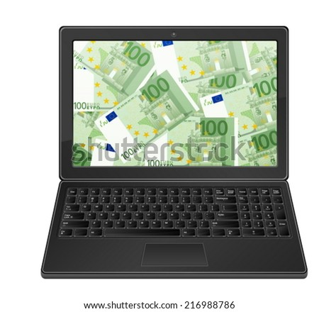 Laptop with one hundred euro banknotes on a white background.