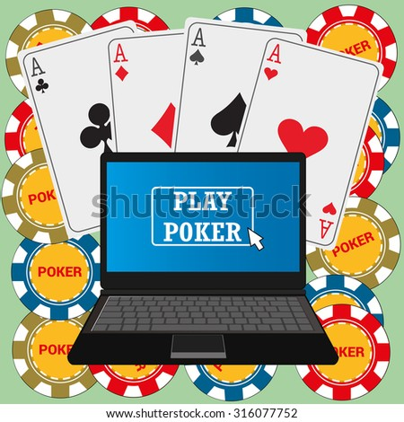 Laptop with poker application on the screen, chips and cards around, vector - stock vector