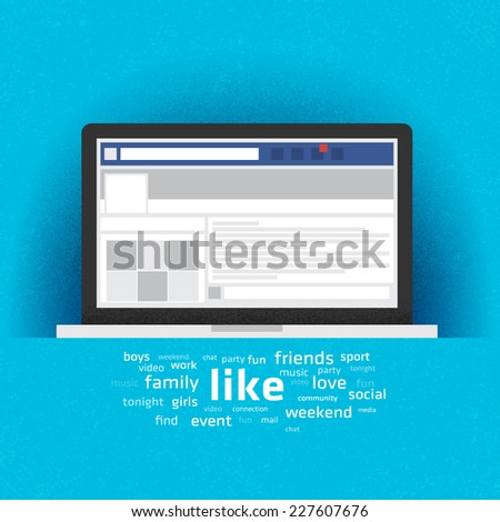 Laptop with social network internet page. Vector Illustration - stock vector