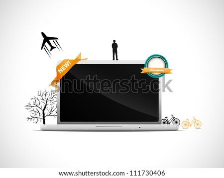 Laptop with some vector elements - stock vector
