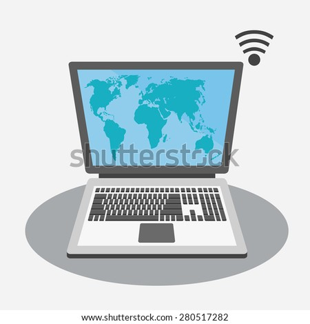 Laptop with world map on screen on grey background - stock vector
