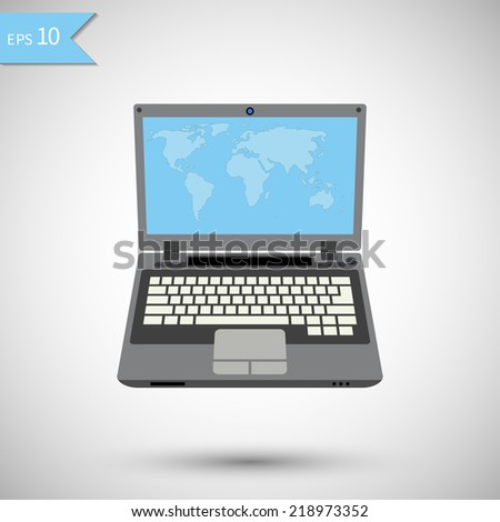 Laptop with World map on screen. Vector illustration. - stock vector