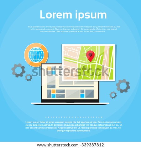 Laptop World Map Gps Globe Navigation Vector Illustration - stock vector
