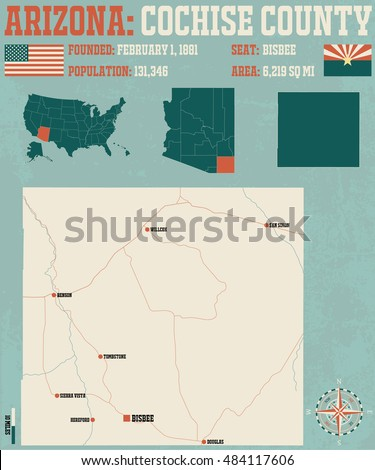 Large and detailed map and infographic of Cochise County in Arizona.