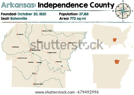 Large Detailed Map Crawford County Arkansas Stock Vector - Map of arkansas counties