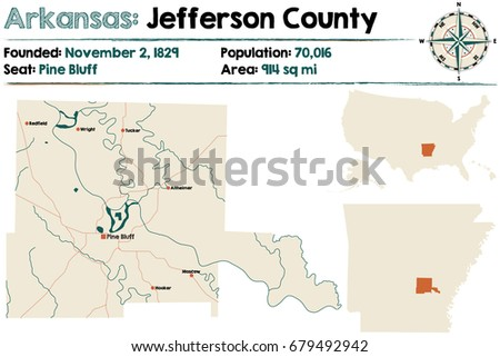Large Detailed Map Arkansas Montgomery County Stock Vector 685135870