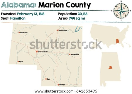 Large Detailed Map Marion County Alabama Stock Vector 2018