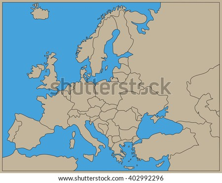 large beige map of europe - stock vector