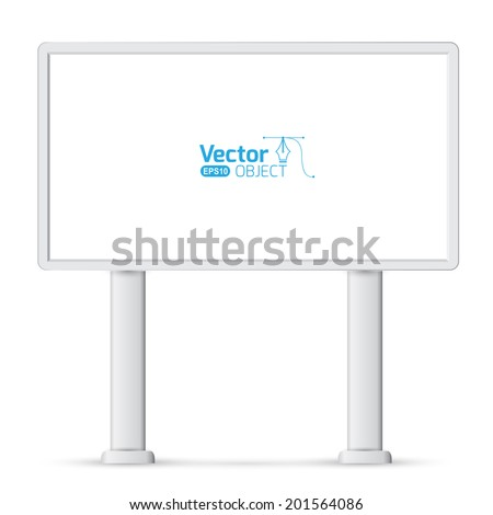 Large blank, empty, white billboard screen, isolated on white background, for your advertisement and design.  - stock vector