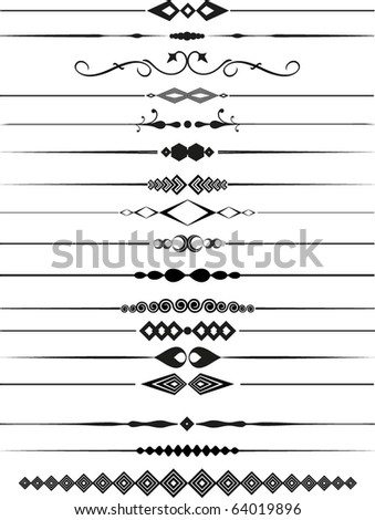 Large collection of decorative page dividers - stock vector