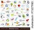 large collection of detailed vector icons and design elements - stock photo