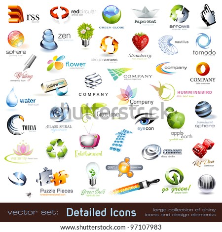 large collection of detailed vector icons and design elements - stock vector
