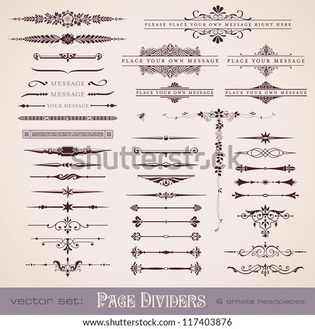 large collection of page dividers and ornate headpieces - stock vector