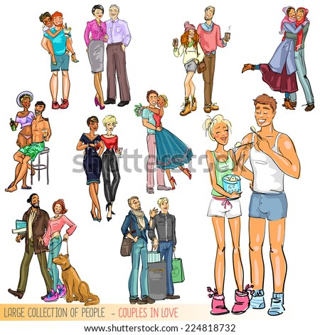Large collection of people - Happy couples, Isolated - stock vector