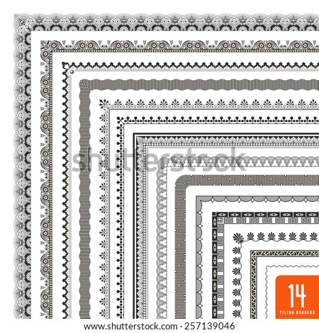 large collection of seamlessly tiling borders/frames - stock vector