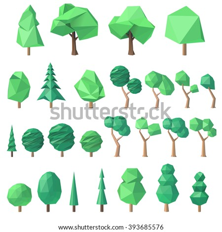 large collection of various polygonal, angular volumetric trees, vector illustration - stock vector