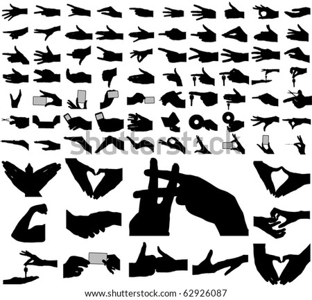 Large collection of vector arms, hands. - stock vector