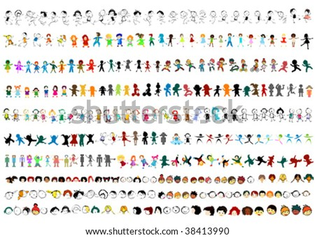 large collection of vector children silhouettes - stock vector