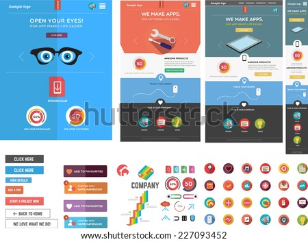 Large collection of web graphics and 3 website templates - stock vector