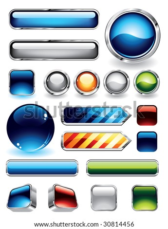 Large collections of glossy and metallic buttons for websites. To see more glossy elements, please visit my portfolio. - stock vector