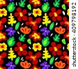 Large colorful flowers on black seamless pattern, vector - stock vector