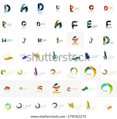Large corporate company logo collection. Universal icon set for various ideas. Vector illustration - stock vector