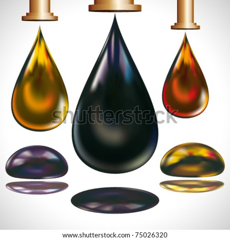 Large drops of oil dripping from the faucets. - stock vector