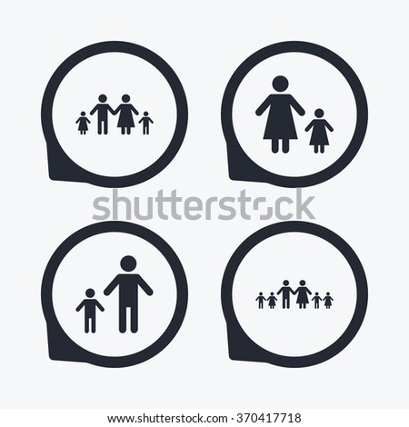 Large Family Children Icon Parents Kids Stock Vector 370417718