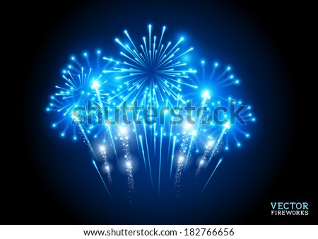 Large Fireworks Display - vector illustration. - stock vector