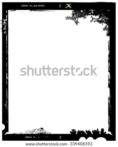 large format film sheet photo frame, with free copy space, vector illustration,fictional artwork - stock vector