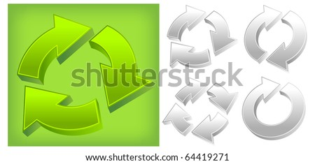 Large green and set of different arrows circle, vector illustration - stock vector