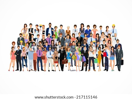 Large group crowd of people adult professionals poster vector illustration - stock vector