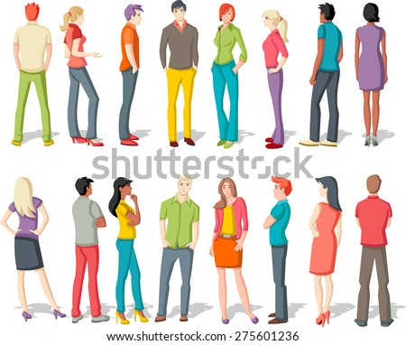 Large group of cartoon young people