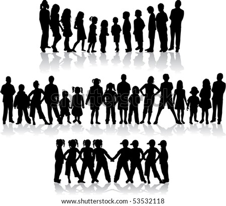 Large group of children's silhouettes - vector illustration - stock vector