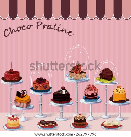 Large group of different cakes on stands - stock vector