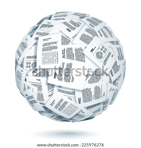 Large group of documents forming the sphere. Eps10. Transparency used. CMYK. Global colors. Gradients used. - stock vector