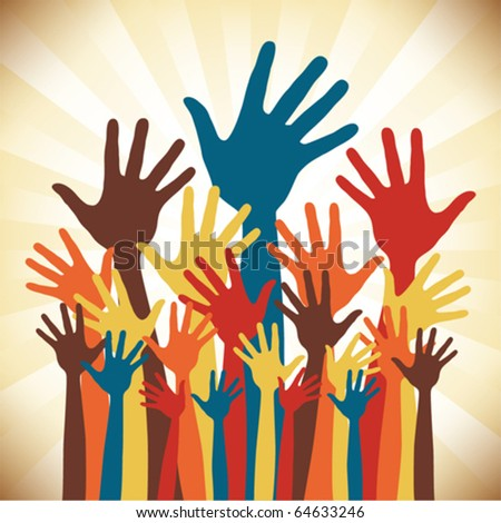 Large group of happy hands design. - stock vector