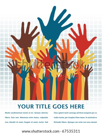 Large group of happy hands design with copy space. - stock vector