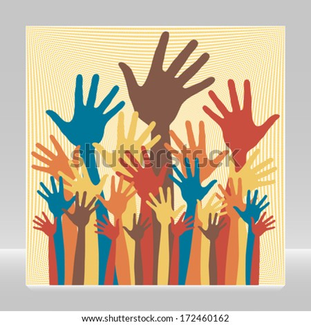 Large group of happy hands vector.  - stock vector