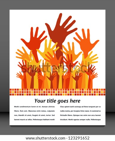 Large group of happy hands with copy space. - stock vector