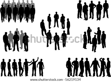 Large group of man silhouettes - vector illustration - stock vector