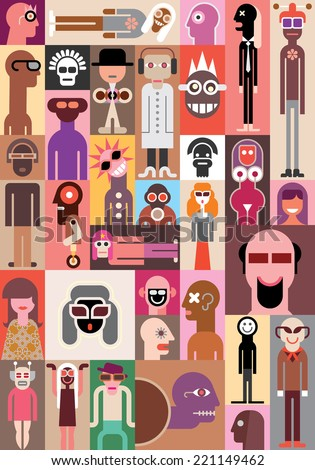 Large group of people. Art composition of abstract portraits - vector illustration. - stock vector
