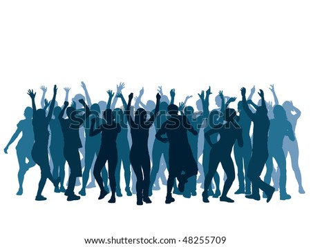 Large group of people dancing in a club. - stock vector