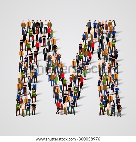 Large group of people in letter M form. Vector seamless background - stock vector