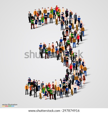 Large group of people in number 3 three form. Vector illustration - stock vector