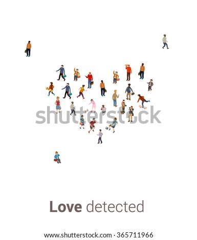 Large group of people in the shape of a heart.Healthy life,or people searching for love concept. High angle view on a white background vector - stock vector