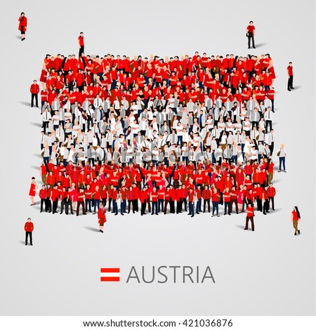 Large group of people in the shape of Austria flag. Republic of Austria. Vector illustration - stock vector